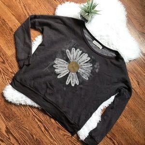 UO Project Social T wide neck flower sweatshirt
